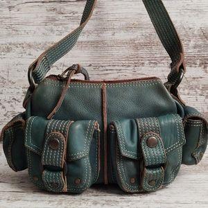 Vintage Fossil Teal Leather Shoulder Bag